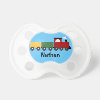 Baby Boy Personalized Blue Train Pacifier