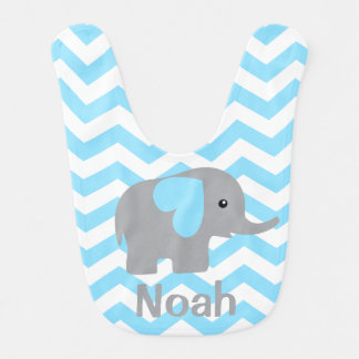 Baby Boy Personalized Elephant Blue Chevron Bib