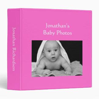 Baby Boy photo album bright pink custom photo Vinyl Binder