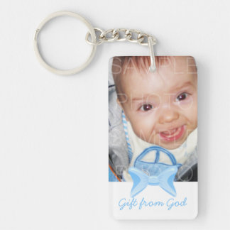 Baby boy Photo Gift from God Blue bow Bible verse Double-Sided Rectangular Acrylic Keychain
