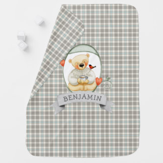 Baby Boy Plaid with Teddy Bear and Name Baby Blanket