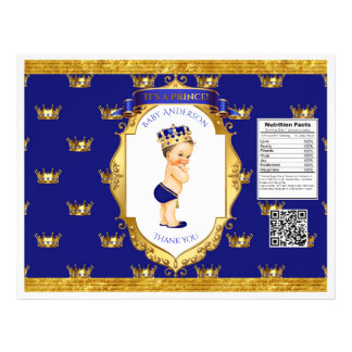 Baby Boy Prince Royal Blue Gold Chip Bag Wrapper