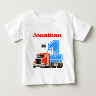 Baby Boy Red Flat Bed Truck 1st Birthday Baby T-Shirt
