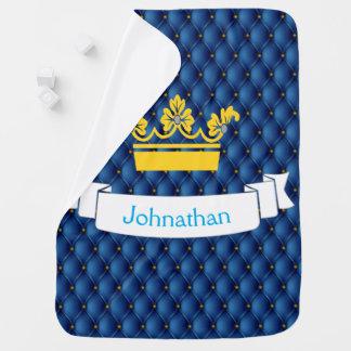 Baby Boy Royal Blue Prince Pin-tuck Gold Crown Baby Blanket