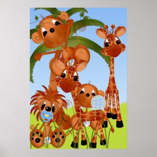 Baby Boy Safari Animals Nursery Poster