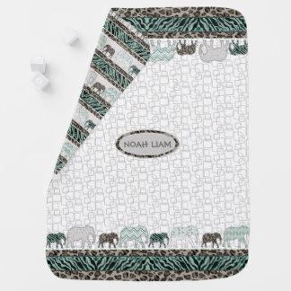 Baby Boy Safari Elephants Retro Modern Nursery Baby Blankets