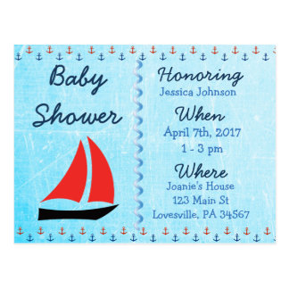 Baby Boy Sailboat Blue Baby Shower Invitation Postcard