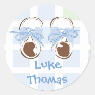 Baby Boy Shoe Gift Label Round Sticker