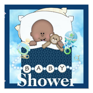 BABY BOY SHOWER AFRICAN AMERICAN INVITATION