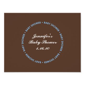 Baby Boy Shower Brown RSVP Card with Name and Date