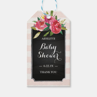 Baby Boy Shower Gift Tags - Pink Stripes Pack Of Gift Tags