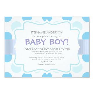 "Baby Boy Shower Invitation: polka_dots_vintage_blu 5"" X 7"" Invitation Card"