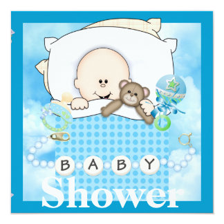 "BABY BOY SHOWER INVITATION WITH TEDDY BEAR 5.25"" SQUARE INVITATION CARD"