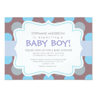 "Baby boy shower polka dots stripes vertical frame 5"" x 7"" invitation card"