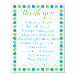 "Baby boy shower thank you card from baby 4.25"" x 5.5"" invitation card"