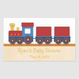 Baby Boy Shower: Yellow, Red & Blue Train Sticker