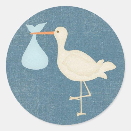 Baby Boy Stork Round Sticker