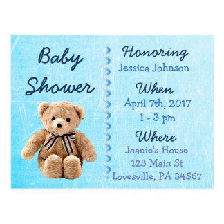 Baby Boy Teddy Bear Blue Baby Shower Invitation Postcard