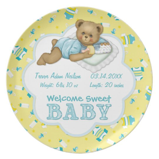 Baby Boy Teddy Bear Plate