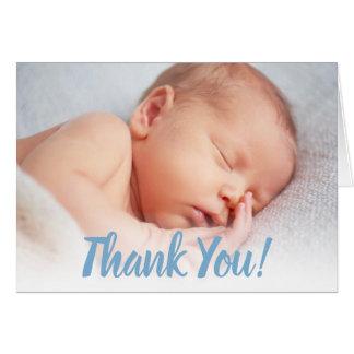 Baby Boy Thank You | Blue Photo Overlay Card