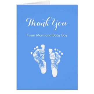 Baby Boy Thank You Cute Blue Newborn Footprints Stationery Note Card