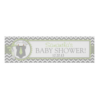 Baby Boy Tie Chevron Print Baby Shower Banner