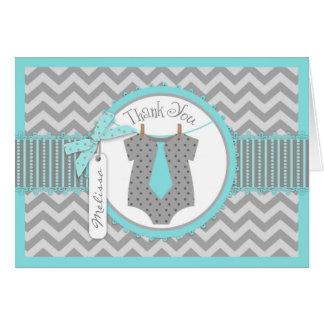 Baby Boy Tie Chevron Print Thank You Card