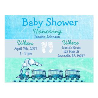 Baby Boy Train Blue Baby Shower Invitation Postcard