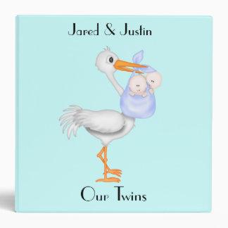 Baby Boy Twins Stork Photo Album Binders