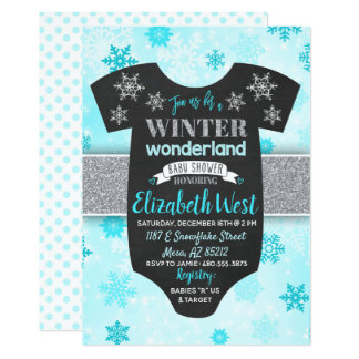 Baby Boy Winter Wonderland Baby Shower Invitation
