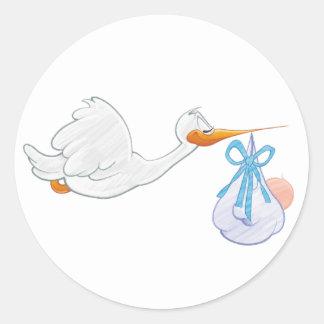 Baby Boy with Stork Classic Round Sticker