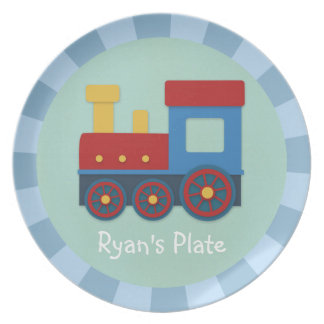 Baby Boy Yellow Red Blue Train Dinner Plate