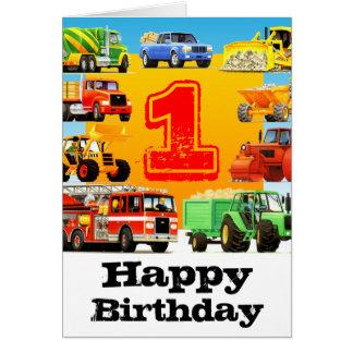 Baby Boy's 1st Birthday Construction Truck Card
