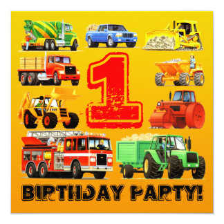 Baby Boy's 1st Birthday Construction Truck Party Card