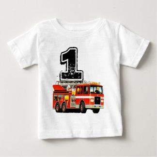 Baby Boys 1st Birthday Red Fire Truck Baby T-Shirt