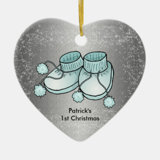 Baby Boy's 1st Christmas - Heart Shaped Ornament