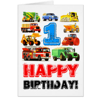 Baby Boy's Big Trucks 1st Birthday Card