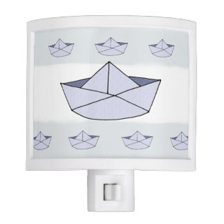 Baby Boy's Blue Captain Marine Paper Boat Nursery Nite Light