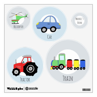 Baby Boy's Blue Car/Train Transportation Nursery Wall Decal