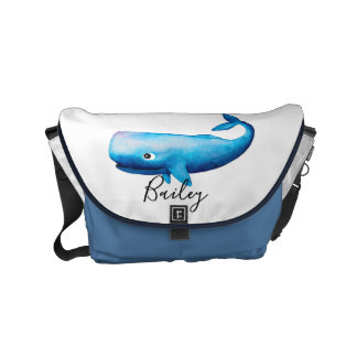 Baby Boys Blue Ocean Watercolor Whale Name Diaper Commuter Bag