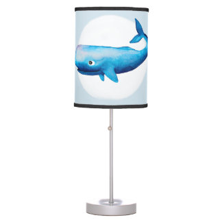 Baby Boy's Blue Sea Watercolor Whale Name Nursery Table Lamp