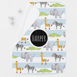 Baby Boy's Blue Striped Safari Animals with Name Baby Blanket