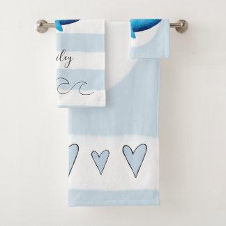 Baby Boys Blue Watercolor Whale Ocean Animal Name Bath Towel Set