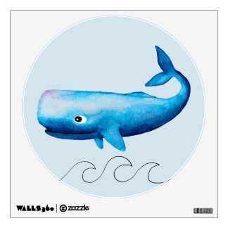 Baby Boy's Blue Whale Ocean Sea Animal Waves Wall Sticker