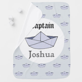 Baby Boy's Captain Marine Origami Paper Boat Name Baby Blanket