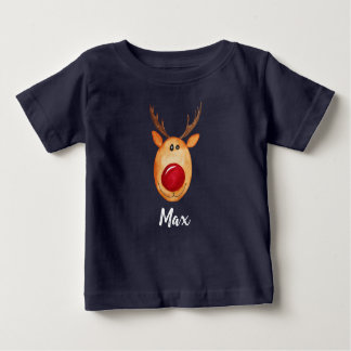 Baby Boy's Christmas Watercolor Rudolph with Name Baby T-Shirt