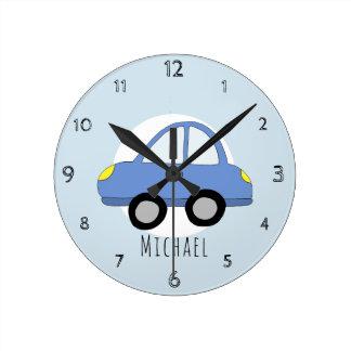 Baby Boys Doodle Blue Car Vehicle Nursery Round Clock
