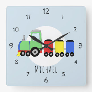 Baby Boys Doodle Colorful Locomotive Train Nursery Square Wall Clock