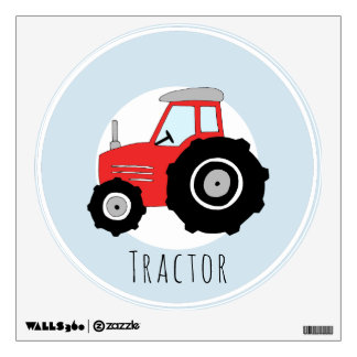 Baby Boys Doodle Red Farm Tractor Car Nursery Wall Sticker