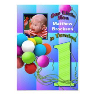 "Baby Boy's First Birthday - Balloons 5"" X 7"" Invitation Card"